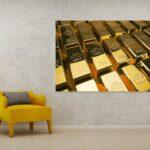 tablou canvas lingouri de aur
