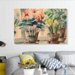 tablou canvas pictura ghivece flori
